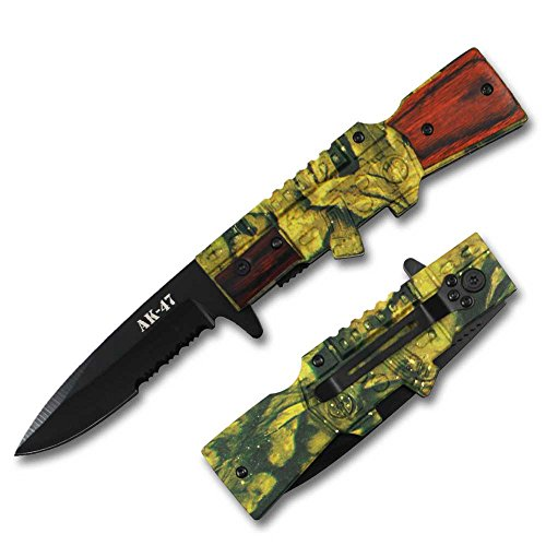Rtek AK 47 AK47 Rifle Style Shaped Wooden Camouflage Tactical Spring Assisted Assist Knife Knives