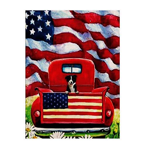 Elevin(TM)  Truck Puppy Garden Flag 12.5 x 18inch Garden Yard Flower -