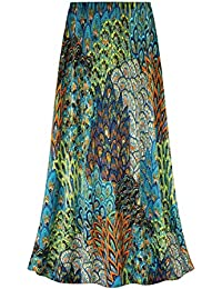 Perfectly Peacock Slinky Print Plus Size A-Line Skirt