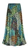 Peacock Slinky Print Plus Size A-Line Skirt 2X