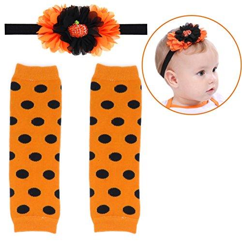 Elesa Miracle Cozy Soft Baby Toddler Leg Warmers and Headband Set (Halloween B) -