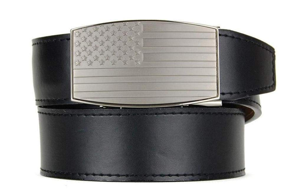 USA Pewter Aston Black Leather EDC Belt for Men with Heavy Duty Strap for Concealed Carrying by Nexbelt