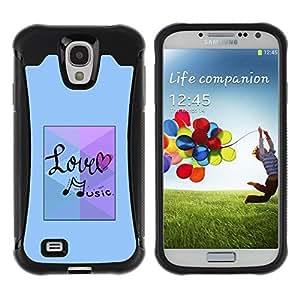 Suave TPU GEL Carcasa Funda Silicona Blando Estuche Caso de protección (para) Samsung Galaxy S4 IV I9500 / CECELL Phone case / / Love Music Note Blue /