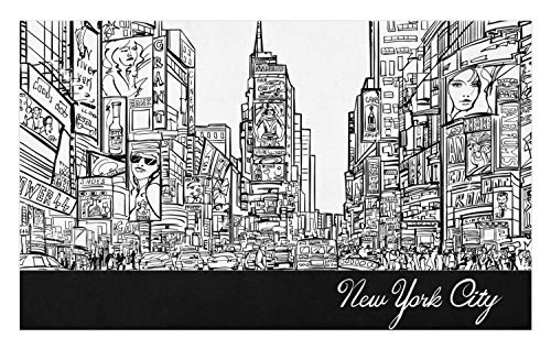 Lunarable New York Doormat, Times Square with Traffic Jam and Sketch Adverts Hand Drawn Urban City, Decorative Polyester Floor Mat with Non-Skid Backing, 30
