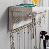 MyGift Modern Whitewashed Wood & Brass Metal Wall