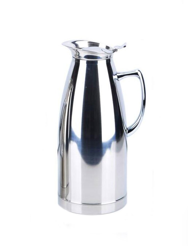 iecool Stainless Steel Metal Double Walled Vacuum Insulated Thermal Coffee Carafe Drink Dispenser Milk Water Pitcher Silver 68oz by iecool