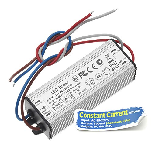 Chanzon LED Driver 300mA (Constant Current Output) 60V-120V (Input 85-277V AC-DC) (20-36) x1W 20W 24W 30W 36W IP67 Waterproof High Power Supply 300 mA Lighting Transformer for COB Chips (Aluminium)