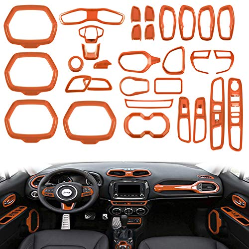 (Opall ABS Interior Parts Decoration Door Sound Speaker Audio Ring Dashboard Air Vent Frame Outlet Steering Wheel Buttons Sequins Steering Wheel U-Shaped Door Cover for Jeep Renegade (31PCS Orange))