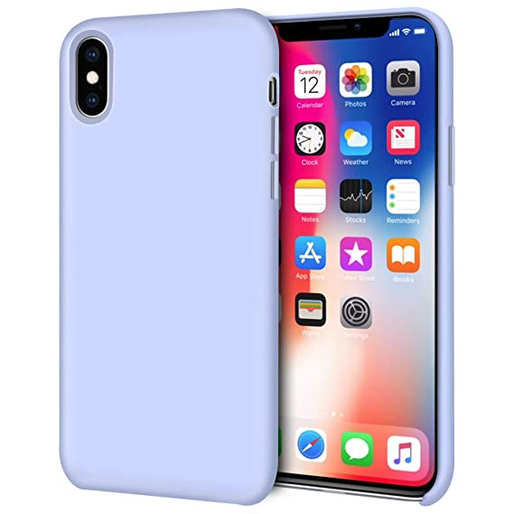 buy online 37f53 ee066 iPhone Xs Case, iPhone X Case, Anuck Anti-Slip Liquid Silicone Gel Rubber  Bumper Case Soft Microfiber Lining Cushion Slim Hard Shell Shockproof ...