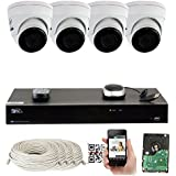 GW 8 Channel H.265 PoE NVR Ultra-HD 4K (3840x2160) Security Camera System with 4 x 4K (8MP) IP Dome Camera, 100ft Night Vision, Weatherproof Surveillance Camera