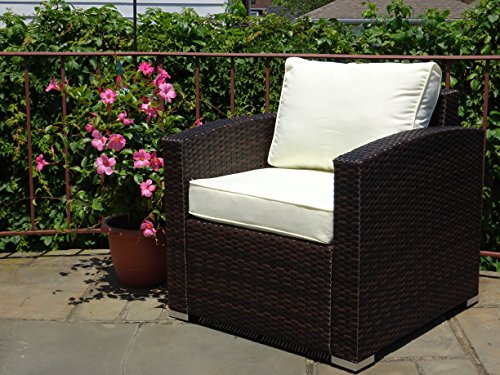 Patio Resin Outdoor Garden Deck Yard Wicker Lounge Chair w/cushion. Dark Brown Color