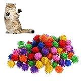 kathson 100Pcs Colorful Mini Sparkly Glitter Tinsel Balls Small Pom Ball For Cat Toys