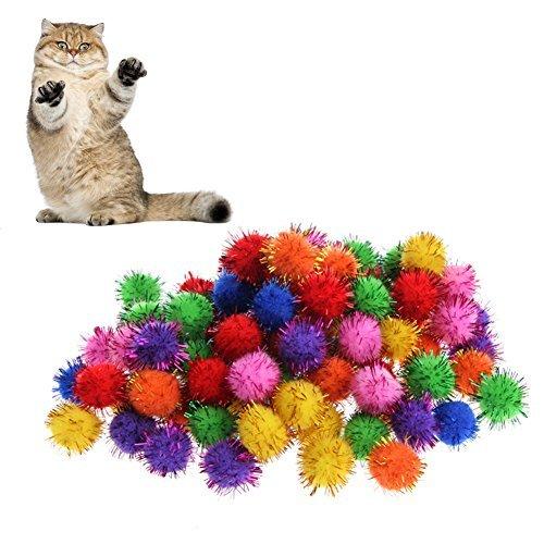 kathson 100Pcs Colorful Mini Sparkly Glitter Tinsel Balls Small Pom Ball For Cat Toys ()
