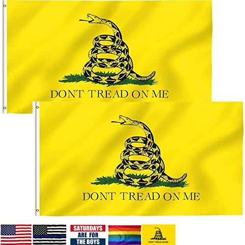 Tread Flag Dont Gadsden (LSIKA-Z Gadsden Flag Don't Tread On Me Flags, 2 Pack 3 x 5 Foot Gasden Flag with 2 Brass Grommets Bright Color UV Fade Resistant and Canvas Header (Don't Tread on me))
