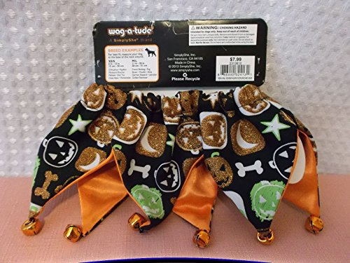 Wag-a-tude 'Petco Halloween Glitter Pumpkin Scrunchy Dog Collar, X-Small/Small' -