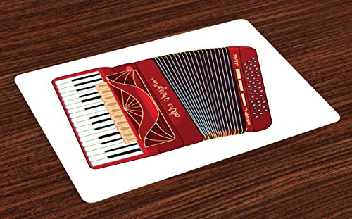 Lunarable Accordion Place Mats Set of 4, Squeezebox Eastern European Keyboard Pop Dance Melody and Harmony Theme, Washable Fabric Placemats for Dining Room Kitchen Table Decor, Multicolor ()
