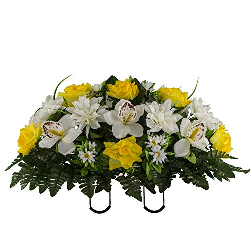 Sympathy Silks Artificial Cemetery Flowers - Realistic Elegant Orchids, Outdoor Grave Decorations - Non-Bleed Colors, and Easy Fit - Yellow White Orchids - Stone Flower