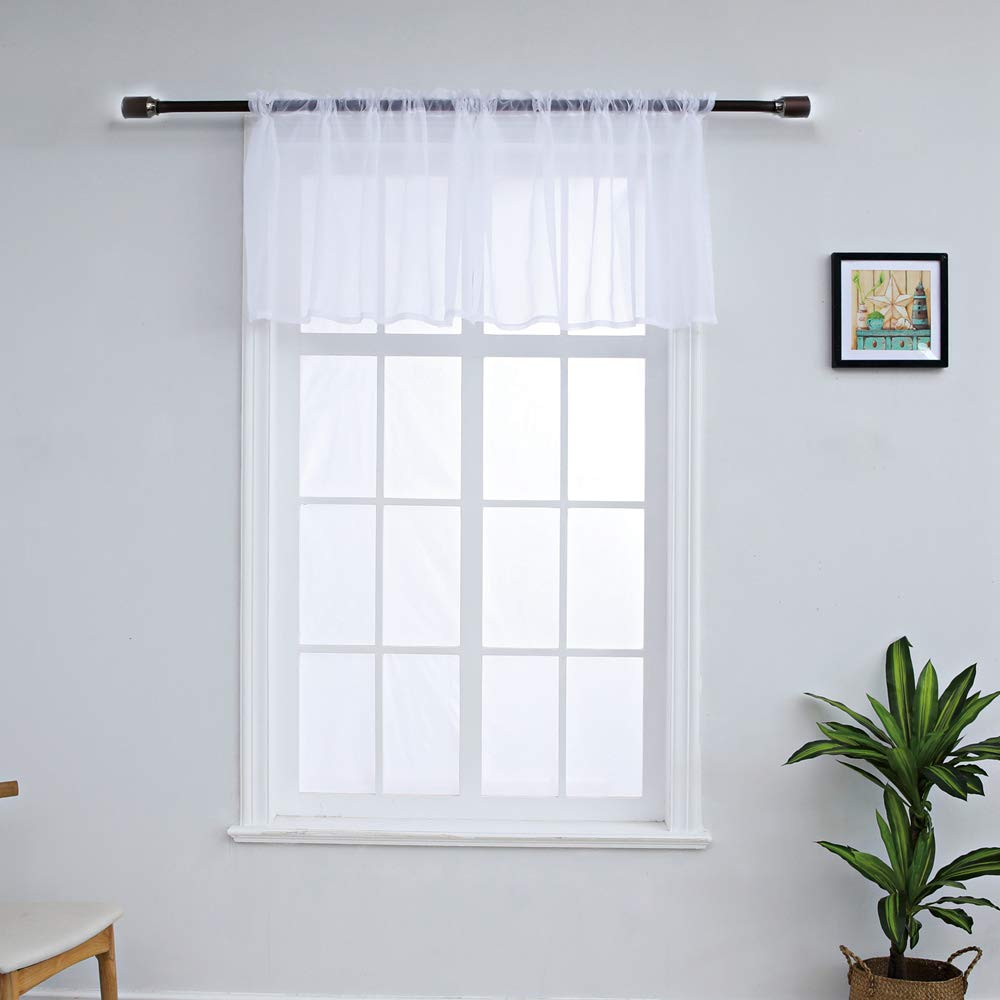 WUBODTI White Sheer Voile Valance Curtains for Small Kitchen Windows Tulle  Modern Window Treatments Cafe Curtains and Drapes for Bedroom Living Room,  ...