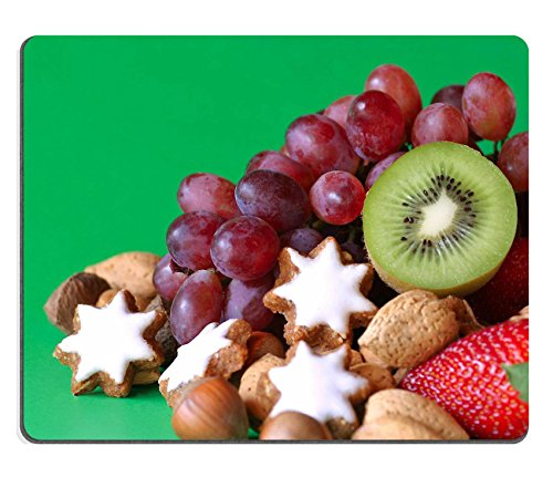 - Qzone Mousepads A selection of fruit nuts and cookies with green background IMAGE 553715 Customized Art Desktop Laptop Gaming mouse Pad