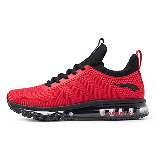 Onemix Mens Air Running Trainers Casual Walking Gym Sports Rosso Rosso