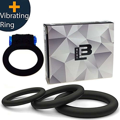 Super Soft Black Silicone Vibrating Cockring for Male Penis Ring Cock Rings 100% Medical Grade Pure Silicone Set for Extra Stimulation-Better Sex Toy for Erection Enhancing Last Longer Orgasm - 4 pcs by Pleasure4me