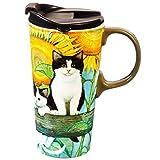 Cypress Home Sunflower Kittens Ceramic Travel Coffee Mug, 17 ounces by Cypress