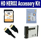 GoPro HD HERO2 Camcorder Accessory Kit includes: SDAHDBT001 Battery, HDMI3FM AV & HDMI Cable, ZELCKSG Care & Cleaning, SD32GB Memory Card