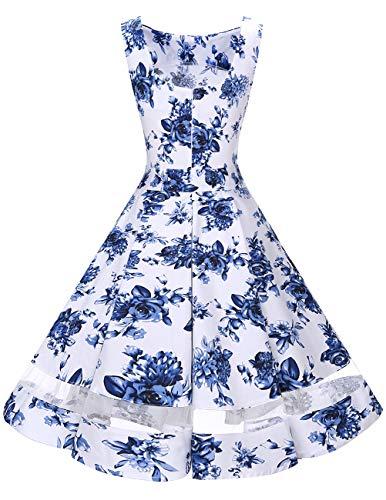 de Mangas Vestidos Vintage Moda White Mujer sin Blue Flower 50s Fiesta Casual Bridesmay wnYTqaxzS