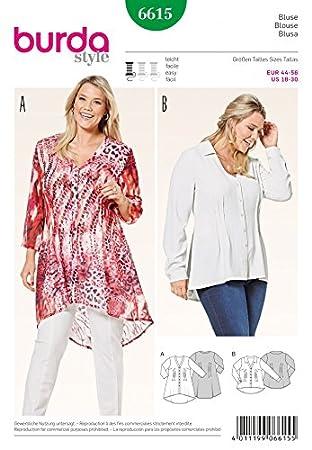 Burda Damen Plus Größe Easy Schnittmuster 6615 Pin Tuck V Hals ...
