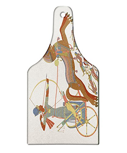 Lunarable Egyptian Cutting Board, Antique Visual Descriptive Fresco of Historical Concept with Pharaoh on Chariot, Decorative Tempered Glass Cutting and Serving Board, Wine Bottle Shape, Multicolor ()