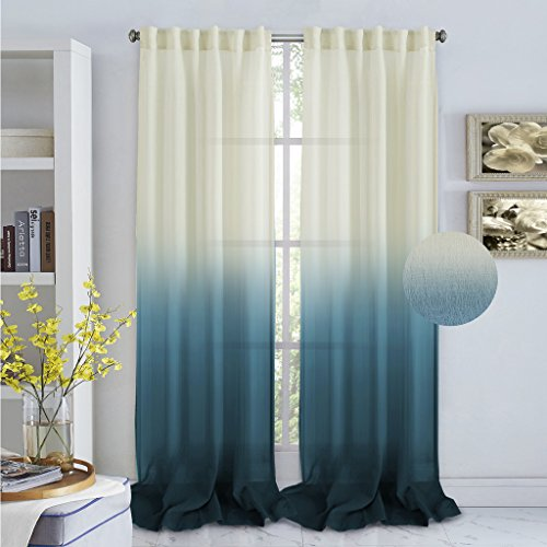 Turquoize Ombré Semi Sheer Curtains, Spring Drapes, Back Tab/ Rod