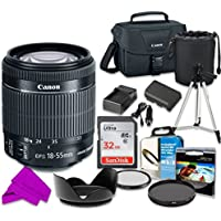 Professional Accessory Kit with Canon EF-S 18–55mm f/3.5–5.6 IS STM Lens & SanDisk 32GB Class 10 Memory + Canon 100ES Shoulder Bag + Bundle Package for Canon EOS 70D, 80D Digital SLR Cameras