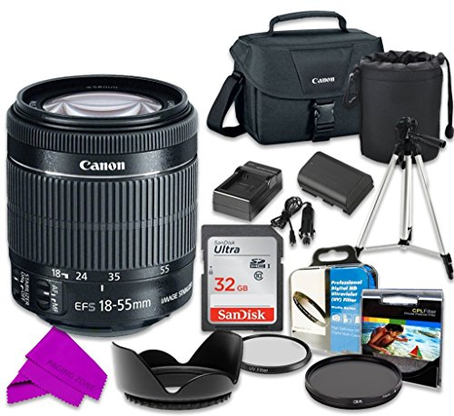 Professional Accessory Kit with Canon EF-S 18–55mm f/3.5–5.6 IS STM Lens & SanDisk 32GB Class 10 Memory + Canon 100ES Shoulder Bag + Bundle Package for Canon EOS 70D, 80D Digital SLR Cameras -  PZ-1855STMLPE6-010917