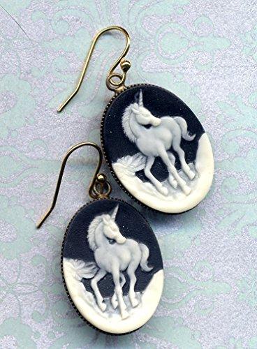 - Unicorn Earrings, Cameo Earrings, 18 K Gold Filled Ear Wire Earrings, Romantic earrings by AnnaArt72