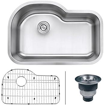 "Ruvati RVM4700 Undermount 16 Gauge 32"" Kitchen Single Bowl Sink, Stainless Steel"