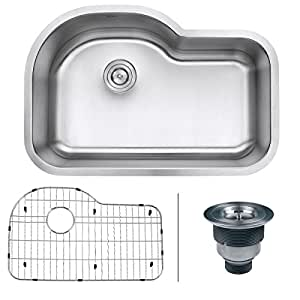 "Ruvati RVM4700 Undermount 16 Gauge 32"" Kitchen Single Bowl Sink, Stainless Steel"