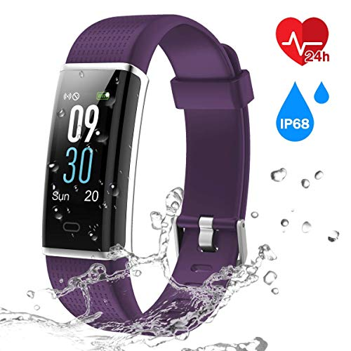 CHEREEKI Fitness Trackers, Heart Rate Monitor Activity Tracker Fitness Watch with IP68 Waterproof, 14 Sports Modes Smart Band, Color Screen, Calorie Counter, Sleep Monitor for Kids Women Men (Purple)