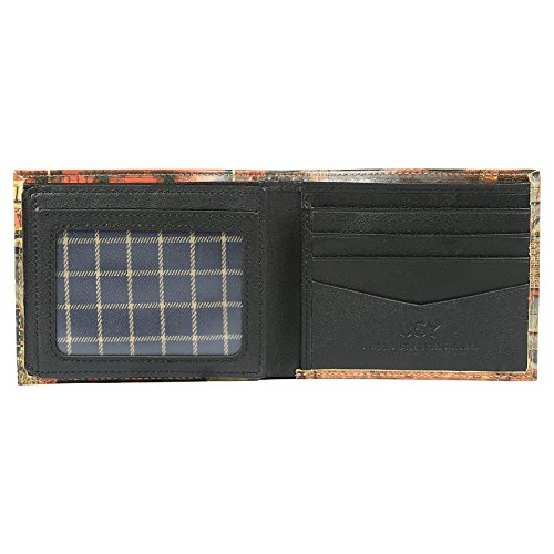 Wallet Unique Stylish with Wallet Window Genuine Cali Designs Leather for Life Bifold Printed ID Change Men Your 2 77n0wxS