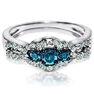 Blue Diamond Engagement Ring White Accents In White Gold 1