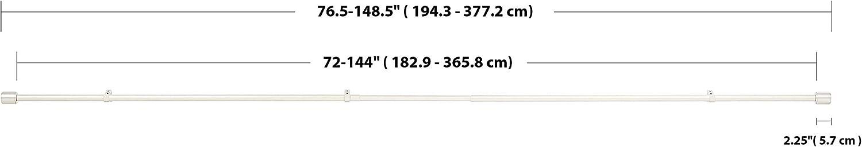 anneaux 35,6/cm 91 /à 183 cm Basics Tringle /à rideaux 2,5 cm avec embouts de finition Noir