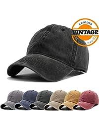 2af1eb8d3ad Unisex Vintage Washed Distressed Baseball-Cap Twill Adjustable Dad-Hat