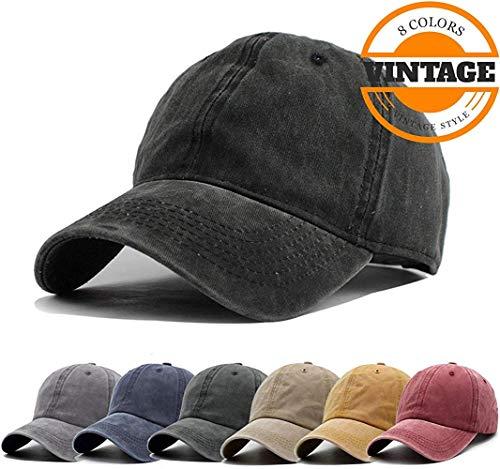 (Unisex Vintage Washed Distressed Baseball Cap Twill Adjustable Dad Hat,G-black,One Size)