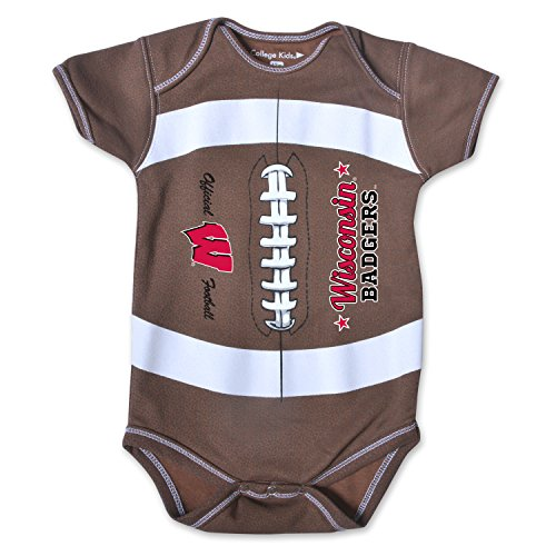 NCAA Wisconsin Badgers Kids MVP Football Bodysuit, 6 Months, Brown