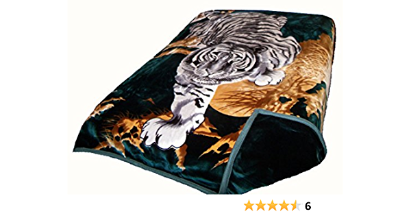 Solaron Two Ply Crouching Tiger Mink Blanket Hunter Green Home Kitchen Amazon Com