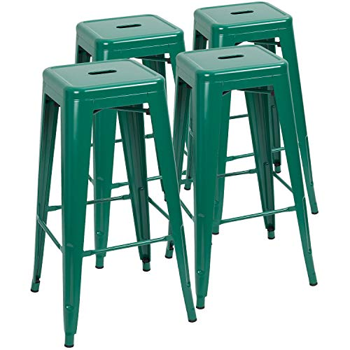 Devoko Metal Bar Stool 30'' Tolix Style Indoor/Outdoor Barstool Modern Industrial Backless Light Weight Bar Stools with Square Seat Set of 4 (Green) ()