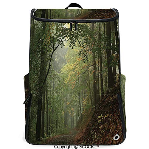 SCOCICI Laptop Backpack,Misty Autumn Forest with Shaded Trees Foggy Dreamy Woodland Scene Decorative,Olive and Reseda Green Brown,Customizable Multicolor for Men & Women Sport Daypack