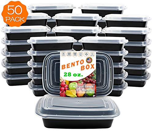 28 oz. 50-Pack 1-Compartment Food Container - Rectangular Meal Prep Bento Box with Lid - Stackable - BPA Free - Freezer/Microwave/Dishwasher Safe - Reusable Storage - Portable - USA Made
