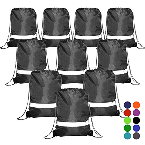 BeeGreen Black Drawstring Backpack Bags Reflective 10 Pack, Promotional Sport Gym Sack Cinch Bag (Black) ()