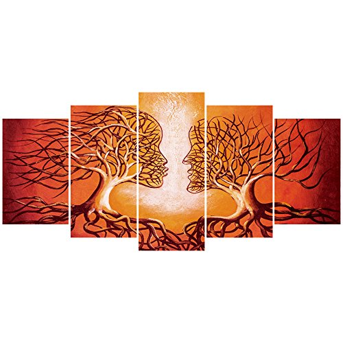 Life Giclee Canvas - GEVES Coral Red Lovers Tree of Life Contemporary Wall Art Painting Giclee Canvas Prints Modern Home Decoration 5 Pieces Artwork Stretched and Framed Ready to Hang for Living Room Bedroom