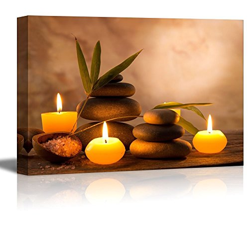 (EZON-CH Modern Canvas Wall Art Rectangle Oil Painting for Wall,Spa Still Life with Aromatic Candles and Zen Stones Artworks,Stretched by Wooden Frame,Ready to Hang,24x36 Inch)